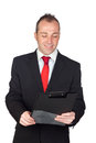 Young businessman with a clipboard Royalty Free Stock Images