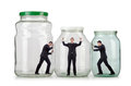 Young businessman in glass jar Royalty Free Stock Photos