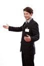 Young businessman with id to put your text handsome here Royalty Free Stock Photography