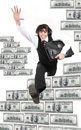 Young businessman jumps through dollars Royalty Free Stock Photo