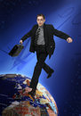 Young businessman jumps through the world Royalty Free Stock Images