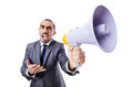 Young businessman with loudspeaker on white Royalty Free Stock Photos