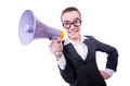 Young businessman with loudspeaker on white Royalty Free Stock Image