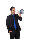 Young businessman megaphone proclaiming something isolated white background Royalty Free Stock Photos