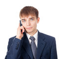 Young businessman with mobile phone Royalty Free Stock Image