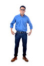 Young businessman with no money in his pockets Stock Photos