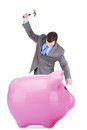 Young businessman and piggy bank Stock Photography