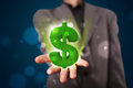 Young businessman presenting green glowing dollar sign business man in suit Royalty Free Stock Photos