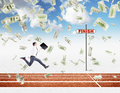 A young businessman running forward with a black folder in hand approaching the finish line, dollars falling from above. Royalty Free Stock Photo