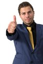 A Young businessman showing thumb up Royalty Free Stock Images