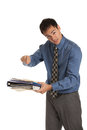 Young businessman standing frustrated holding documents isolated expression business folder on isolate white background Stock Image