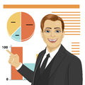 Young businessman standing next to flip chart and pointing graph with graph and diagram. Creative business concept.