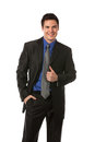 Young Businessman Standing Smiling Isolated Royalty Free Stock Photos