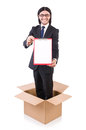 Young businessman in thinking out of box concept Stock Photo