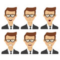 Young businessman with various avatar expressions set. Flat illustrations