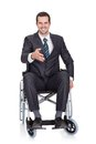 Young businessman in wheelchair Stock Images