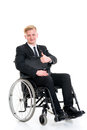 Young businessman in a wheelchair with thumb up portrait of Royalty Free Stock Image