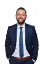 Young attractive business man standing in corporate portrait isolated on white background. Adult, leadership Royalty Free Stock Photo