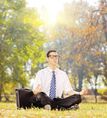 Young businessperson seated on a green grass meditating in a par park sunny day shot with tilt and shift lens Stock Photography