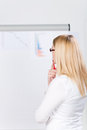 Young businesswoman analyzing flip chart rear view of in office Stock Image