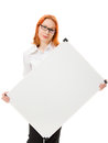 Young businesswoman with blank signboard Stock Images