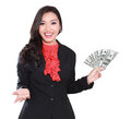 Young businesswoman with dollars in her hands Royalty Free Stock Photo