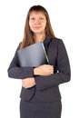 The young businesswoman is a folder in his hands Stock Images