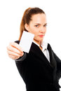 Young businesswoman holding sheets of paper Royalty Free Stock Photos