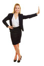 Young businesswoman leaning on imaginary wall happy smiling an Royalty Free Stock Image