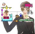 Young businesswoman with logistic movements symbols Royalty Free Stock Photos