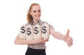 Young businesswoman with money sacks on white Royalty Free Stock Photography