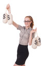 Young businesswoman with money sacks on white Stock Images
