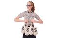Young businesswoman with money sacks on white Stock Photography