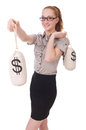 Young businesswoman with money sacks on white Royalty Free Stock Image