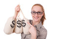 Young businesswoman with money sacks on white Stock Image