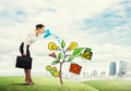 Young businesswoman outdoors watering drawn growth concept with can Royalty Free Stock Photo