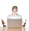 Young businesswoman sitting with laptop Stock Photos