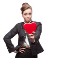 Young businesswoman smiling caucasian business woman holding red heart isolated on white background Stock Photo
