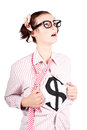Young Businesswoman Super Hero Showing Dollar Sign Royalty Free Stock Images