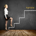 Young businesswoman taking the first step in career with the word `career` Royalty Free Stock Photo