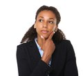 Young businesswoman thinking Royalty Free Stock Photo