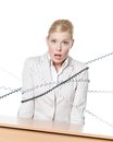 Young businesswoman tied with phone cord Stock Images