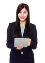 Young businesswoman use of tablet pc isolated on white background Stock Image