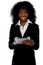 Young businesswoman using wireless tablet pc Royalty Free Stock Photos