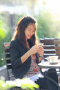 Young businesswoman work oudoor in a cafe portrait of Stock Images