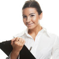 Young businesswoman write this image has attached release Royalty Free Stock Image