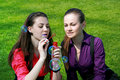 Young businesswomen blowing soap bubbles Stock Images
