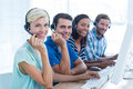 Young casual call centre workers in the office Royalty Free Stock Photo