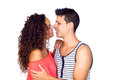Young Casual Caucasian Couple Flirting Royalty Free Stock Photo