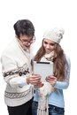 Young casual couple using tablet Stock Image